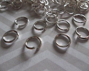 Round 8mm Silver Jump Rings 18 gauge - Qty 118