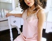 """Vintage 1970s Peaches and Cream Lace Vanity Fair Slip-""""Maria Candelaria"""""""