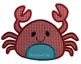 Crab - Machine Applique Embroidery Design - 3 Sizes (077)