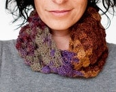 Chunky crochet circle scarf · Hand crocheted merino wool loop scarf · Ghost white with brown sparks · Gift ideas for her