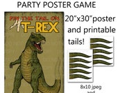 "Printable DIY Pin the Tail on Trex Dinosaur Party Game Poster 20"" x 30"""