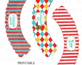 Printable DIY Vintage Circus Cupcake Wrappers First Birthday - INSTANT DOWNLOAD