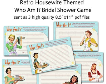 Printable 1950's Retro Housewife Bridal Shower Game - Who Am I? - Set of 6 designs
