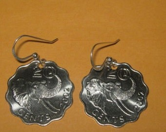 Rare Authentic Swaziland Elephant Coin Dangle Earrings