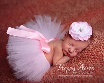 BALLERINA PINK tutu with matching headband, newborn tutu, baby tutu, newborn photography prop