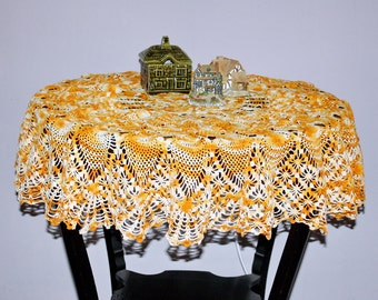 Crocheted Table Topper Tablecloth Round Orange Cream  44 Inches