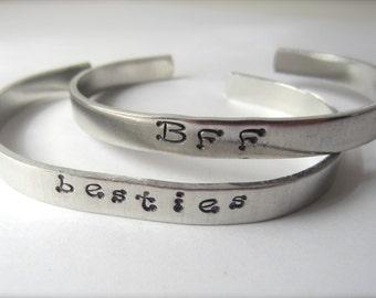 BFF Bracelet Custom Aluminum Cuff Bracelet Best Friend Jewelry BFF Jewelry