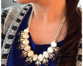 Ivory and Black rhinestone Necklace