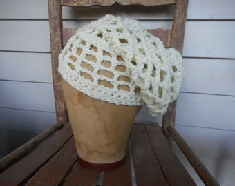 Ivory dread lock cap Open Weave Crochet Rasta Slouchy Head hair Braid Cap Hat Handmade Crochet homespun rustic folk islander tropical ethnic