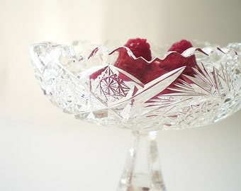 American Brilliant Cut Glass Compote Cut Crystal Compote Candy Dish Pedestal Bowl ABC