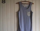 grey cotton singlet. tank top. gray marle with stripes. medium
