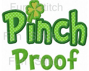 St. Patrick Day pinch proof applique machine embroidery design