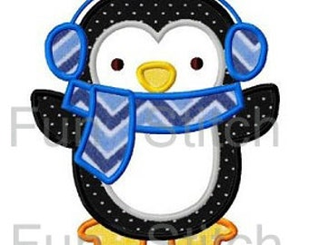 Penguin with earmuffs applique machine embroidery design