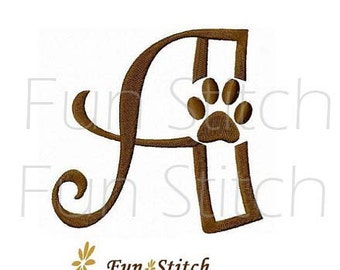 26 paw print font letters machine embroidery design