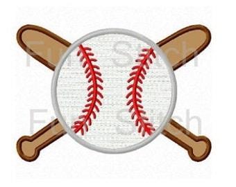 Baseball sports machine embroidery design applique