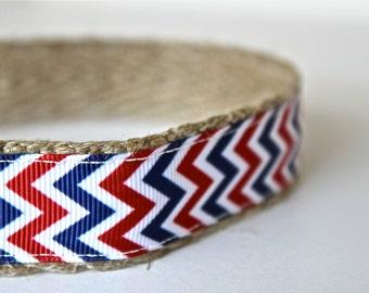 Chevron Red, White & Blue Dog Colla r / Handmade Dog Collar / USA Dog