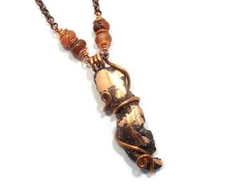Copper Necklace Sardonyx Necklace Michigan Copper Necklace Float Copper Pendant