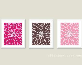 Modern Flower Art Prints - Dahlia Prints Wall Art - Dahlia Flower No.2  - Flower Print Set - Pink Brown Wall Art - Aldari Art