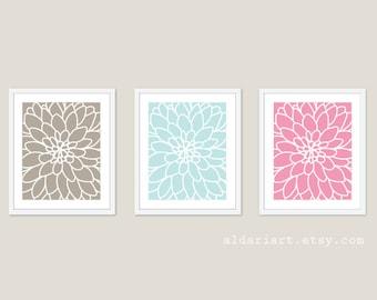 Modern Flower Art Prints - Dahlia Prints - Dahlia Wall Art - Flower No.2  Art Print - Nursery Wall Art - Nursery Decor - Custom Color
