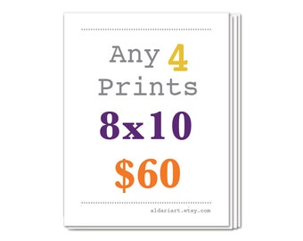 Any Four 8x10 Prints, Set of Four, Package Deal, Discounted Price