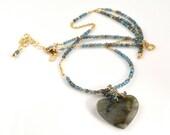 LP 1153 Labradorite Heart, Blue Quartz And 14KGF One Of A Kind Necklace