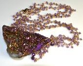 LP 1173  Dazzling Purple Titanium Druzy Pendant, Hand Wrapped Vermeil Chain And Amethyst Necklace