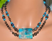 LP 32 Beautiful Sleeping Beauty Turquoise And Shimmering Labradorite One Of A Kind Necklace
