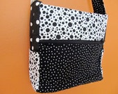 1/2 Off Sale: Kelly Ann1310 Black and White Polka Dots Medium Purse With Zippers, Up cycled Fabric