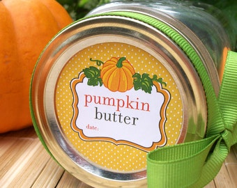 Pumpkin Butter canning jar labels, round mason jar stickers for vegetable preservation, regular or wide mouth mason jar labels