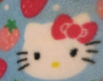 Hello Kitty on Blue with Pink Double Layer Fleece Blanket - Ready to Ship Now