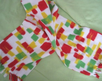Red, Yellow and Green Dashes Fleece Scarf