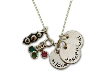 Hand Stamped Necklace  Three Peas in a Pod...Three Sweet Pea..... Personalized Bezel Set Birthstone Silver Necklace