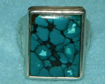 Sterling Silver Turquoise Ring Handcrafted by Varm Size 12