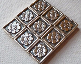 Sterling Silver 3 Hole Separator Beads - 12mm Square  -  Flower Detail  -  Beautiful Multi Strand Separators  -  Qty - 3 pcs