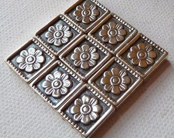 Sterling Silver 3 Hole Square Spacer Beads - Flower Detail - 12mm   Beautiful Multi Strand Separators  -  Qty 3 pcs