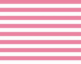 Pink and White Stripe Jersey Knit Fabric From Riley Blake Basics, 1 Yard