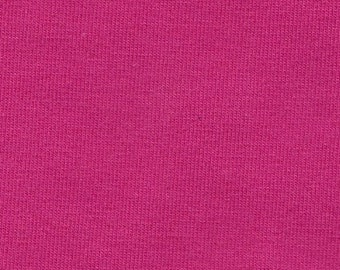 Solid Bright Fuchsia Pink 4 Way Stretch 9 oz Cotton Lycra Jersey Knit Fabric, 1 Yard