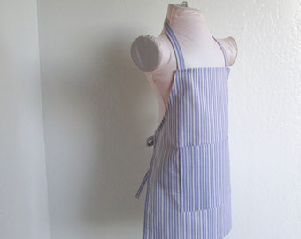 Childrens Apron -  Purple Stripes Kids Apron for a Boy or Girl, A fun apron for cooking, arts and crafts, great idea for party favors