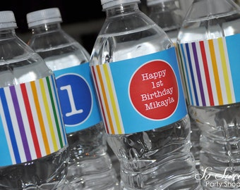 Rainbow Water Bottle Labels - Rainbow Birthday Party Decorations - Personalized Water Bottle Labels - Set of 10