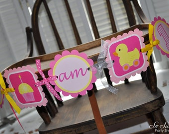 Highchair Banner - 1st Birthday Banner - I am 1 Banner - Cupcake Rubber Ducky Theme