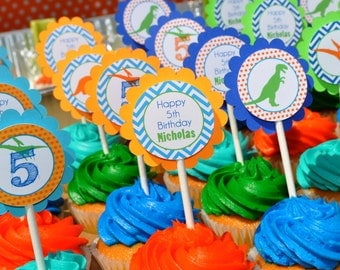 Dinosaur Birthday Cupcake Toppers, Boys 1st Birthday, Dinosaur Theme Birthday, Dinosaur Birthday Party Decorations - Set of 12