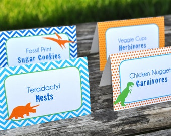 Dinosaur Birthday Party Food Labels, Dinosaur Theme Birthday, Personalized and Printed, Dinosaur Birthday Party Decorations - Set of 12
