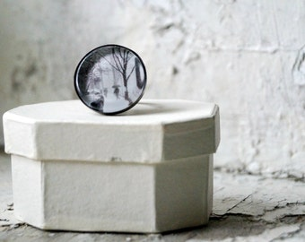 NYC Snow Photo Jewelry Adjustable Ring, New York City Statement Ring, Gunmetal Wearable Art