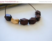 ON SALE Boho Modern Geometric Wood Bead Necklace in Brown