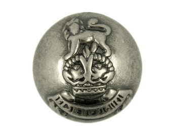 Metal Buttons - Lion Crown Emblem Metal Buttons , Nickel Silver Color , Domed , Shank , 0.79 inch , 10 pcs