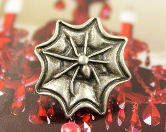 Metal Buttons - Spider and Web Metal Buttons , Antique Silver Color , Shank , 0.75 inch , 6 pcs