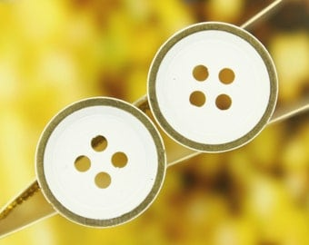 Metal Buttons - White Painting Brass Metal Buttons , Folded Edge , 4 Holes , 0.67 inch , 10 pcs