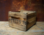 Vintage Rustic Wood Crate / Peters 79 / Old Wood Crate / Storage Organization / Home Decor / wood Crate with Ink Stamped Letters