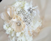 Clearance sale Bridal Champagne and Ivory Flower Brooch Bouquet,Taupe Ivory Heirloom bridal bouquet,Bridal brooch bouquet,Fabric bouquet