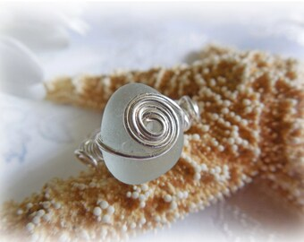 Aqua Blue Beach Glass Sea Glass Ring Size 7-1/2